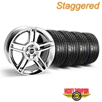 Staggered Chrome 2010 GT500 Mustang Wheel & Mickey Thompson Tire Kit - 18x9/10 (05-14 All) - AmericanMuscle Wheels KIT||28220||28226||79537||79538