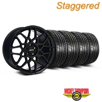 Staggered Gloss Black 2013 GT500 Style Wheel & Mickey Thompson Tire Kit - 18x9/10 (05-14 All)