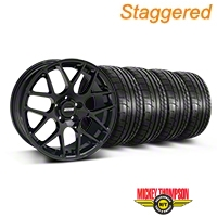 Staggered AMR Black Wheel & Mickey Thompson Tire Kit - 18x9/10 (05-14 All) - American Muscle Wheels 33780||33782||79537||79538||KIT