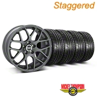 Staggered AMR Charcoal Wheel & Mickey Thompson Tire Kit - 18x9/10 (05-14 All) - American Muscle Wheels 79538||KIT||28330||28333||79537