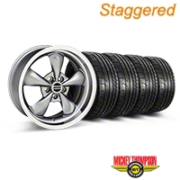 Staggered Anthracite Deep Dish Bullitt Mustang Wheel & Mickey Thompson Tire Kit - 18x9/10 (05-14 All, Excluding GT500) - AmericanMuscle Wheels KIT||28322||28324||79537||79538