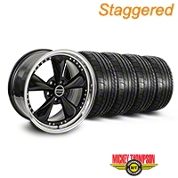 Staggered Bullitt Motorsport Black Wheel & Mickey Thompson Tire Kit - 18x9/10 (05-14 GT, V6) - American Muscle Wheels 10107||10108||79537||79538||KIT
