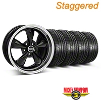 Staggered Black Deep Dish Bullitt Mustang Wheel & Mickey Thompson Tire Kit - 18x9/10 (05-14 All, Excluding GT500) - AmericanMuscle Wheels KIT||28264||28267||79537||79538