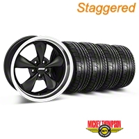 Staggered Matte Black Bullitt Deep Dish Mustang Wheel & Mickey Thompson Tire Kit - 18x9/10 (05-14 GT, V6) - AmericanMuscle Wheels KIT||28303||28305||79537||79538