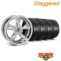 Staggered Chrome Deep Dish Bullitt Mustang Wheel & Mickey Thompson Tire Kit - 18x9/10 (05-14 All, Excluding GT500) - AmericanMuscle Wheels KIT||28265||28268||79537||79538