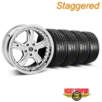 Staggered Chrome Shelby Razor Mustang Wheel & Mickey Thompson Tire Kit - 18x9/10 (05-14 GT, V6) - Shelby KIT||27226||27228||79537||79538