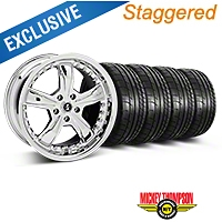 Shelby Staggered Razor Chrome Wheel & Mickey Thompson Tire Kit - 18x9/10 (05-14 GT, V6) - Shelby 27226||27228||79537||79538||KIT