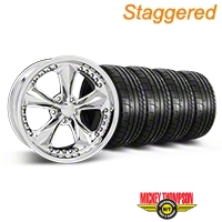 Foose Staggered Nitrous Chrome Wheel & Mickey Thompson Tire Kit - 18x9/10 (05-14 GT, V6) - Foose 32815||32829||79537||79538||KIT