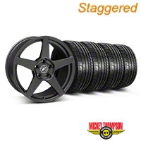 Forgestar Staggered CF5 Monoblock Matte Black Wheel & Mickey Thompson Tire Kit - 18x9/10 (05-14 All) - Forgestar 29602||29603||79537||79538||KIT