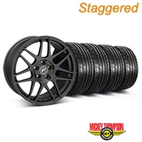 Forgestar Staggered F14 Monoblock Matte Black Wheel & Mickey Thompson Tire Kit - 18x9/10 (05-14 All) - Forgestar KIT||29607||79538||mb1||29606||79537