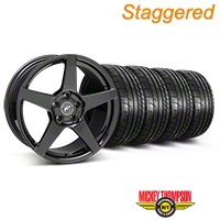 Forgestar Staggered CF5 Monoblock Gloss Black Wheel & Mickey Thompson Tire Kit - 18x9/10 (05-14 All) - Forgestar 29618||29619||79537||79538||KIT