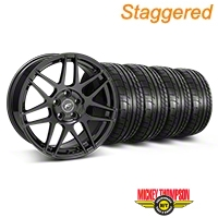 Forgestar Staggered F14 Monoblock Gloss Black Wheel & Mickey Thompson Tire Kit - 18x9/10 (05-14 All) - Forgestar 29622||29623||79537||79538||KIT