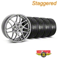 Staggered Gunmetal Forgestar F14 Monoblock Wheel & Mickey Thompson Tire Kit - 18x9/10 (05-14 All) - Forgestar KIT||29614||29615||79537||79538