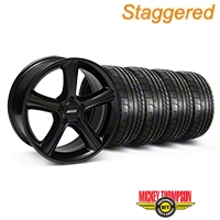 Staggered 2010 GT Premium Style Black Wheel & Mickey Thompson Tire Kit - 18x9/10 (05-14) - American Muscle Wheels 28210||28216||79537||79538||KIT