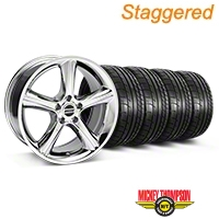 Staggered Chrome 2010 GT Premium Mustang Wheel & Mickey Thompson - 18x9/10 (05-14) - AmericanMuscle Wheels KIT||28211||28217||79537||79538
