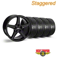 Staggered Saleen Black Wheel & Mickey Thompson Tire Kit - 18x9/10 (05-14 All, Excluding GT500) - American Muscle Wheels 28193||28252||79537||79538||KIT