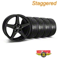 Staggered Matte Black Saleen Mustang Wheel & Mickey Thompson Tire Kit - 18x9/10 (05-14 GT, V6) - AmericanMuscle Wheels KIT||28306||28308||79537||79538