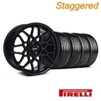 Staggered Gloss Black 2013 GT500 Style Wheel & Pirelli Tire Kit - 19x8.5/10 (05-14 GT, V6)