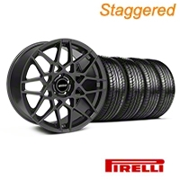 Staggered Charcoal 2013 GT500 Style Wheel & Pirelli Tire Kit - 19x8.5/10 (05-14 GT, V6)