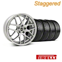 Staggered AMR Silver Wheel & Pirelli Tire Kit - 19x8.5/10 (05-14 All) - American Muscle Wheels 33803||33806||63101||63102||KIT