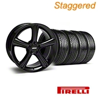 Staggered Black 2010 GT Premium Mustang Wheel & Pirelli Tire Kit - 19x8.5/10 (05-14) - AmericanMuscle Wheels KIT||28230||28233||63101||63102