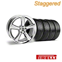 Staggered Chrome 2010 GT Premium Mustang Wheel & Pirelli Tire Kit - 19x8.5/10 (05-14) - AmericanMuscle Wheels KIT||28231||28234||63101||63102