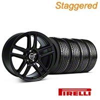 Staggered Laguna Seca Style Black Wheel & Pirelli Tire Kit - 19x9/10 (05-14 All) - American Muscle Wheels 63101||63102||99222||99223||KIT