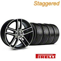 Staggered Black Machined Boss Laguna Style Wheel & Pirelli Tire Kit - 19x9/10 (05-14 All) - AmericanMuscle Wheels KIT||63101||63102||99224||99225