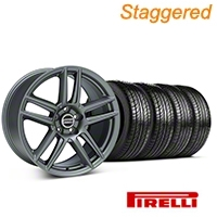 Staggered Laguna Seca Style Charcoal Wheel & Pirelli Tire Kit - 19x9/10 (05-14 All) - American Muscle Wheels 63101||63102||99220||99221||KIT