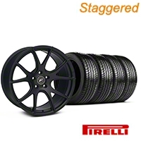 Staggered Matte Black Forgestar CF5V Monoblock Wheel & Pirelli Tire Kit - 19x9/10 (05-14 All)