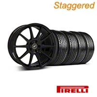 Forgestar Staggered CF10 Monoblock Piano Black Wheel & Pirelli Tire Kit - 19x9/10 (05-14 All) - Forgestar 29844||29845||63101||63102||KIT