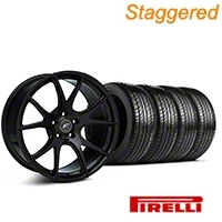 Forgestar Staggered CF5V Monoblock Piano Black Wheel & Pirelli Tire Kit - 19x9/10 (05-14 All) - Forgestar KIT||29855||63102||63101||mb1||29854