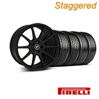 Forgestar Staggered CF10 Monoblock Textured Black Wheel & Pirelli Tire Kit - 19x9/10 (05-14 All) - Forgestar 26846||29847||63101||63102||KIT