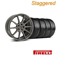 Staggered Gunmetal Forgestar CF10 Monoblock Wheel & Pirelli Tire Kit - 19x9/10 (05-14 All) - Forgestar KIT||29848||29849||63101||63102