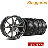 Forgestar Staggered CF5V Monoblock Gunmetal Wheel & Pirelli Tire Kit - 19x9/10 (05-14 All) - Forgestar KIT||mb1||29858||63102||63101||29859
