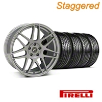 Staggered Silver Forgestar F14 Monoblock Wheel & Pirelli Tire Kit - 19x9/10 (05-14 All)
