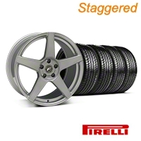 Staggered Silver Forgestar CF5 Monoblock Wheel & Pirelli Tire Kit - 19x9/10 (05-14 All) - Forgestar KIT||29852||29853||63101||63102