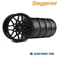 Staggered 2013 GT500 Style Gloss Black Wheel & Sumitomo Tire Kit - 19x8.5/10 (05-14 GT, V6) - American Muscle Wheels KIT||99375||mb1||99371||63036||63037