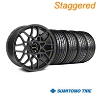 Staggered 2013 GT500 Style Charcoal Wheel & Sumitomo Tire Kit - 19x8.5/10 (05-14 GT, V6) - American Muscle Wheels KIT||mb1||63037||63036||99376||99372