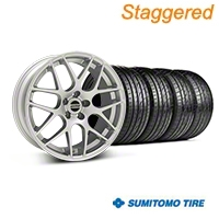 Staggered Silver AMR Style Wheel & Sumitomo Tire Kit - 19x8.5/10 (05-14 All) - AmericanMuscle Wheels KIT||33803||33806||63036||63037