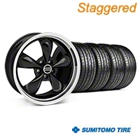 Staggered Bullitt Black Wheel & Sumitomo Tire Kit - 19x8.5/10 (05-14 GT, V6) - American Muscle Wheels 28247||28248||63036||63037||KIT