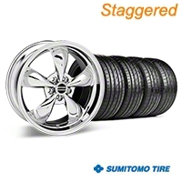 Staggered Deep Dish Bullitt Chrome Wheel & Sumitomo Tire Kit - 19x8.5/10 (05-14 GT, V6) - American Muscle Wheels 28249||28250||63036||63037||KIT