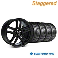 Staggered Laguna Seca Style Black Wheel & Sumitomo Tire Kit - 19x9/10 (05-14 All) - American Muscle Wheels 63036||63037||99222||99223||KIT