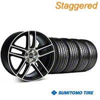 Staggered Black Machined Boss Laguna Style Wheel & Sumitomo Tire Kit - 19x9/10 (05-14 All) - AmericanMuscle Wheels KIT||63036||63037||99224||99225