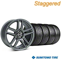 Staggered Boss Laguna Seca Charcoal Wheel & Sumitomo Tire Kit - 19x9/10 (05-14 All) - American Muscle Wheels 63036||63037||99220||99221||KIT