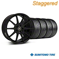 Forgestar Staggered CF10 Monoblock Piano Black Wheel & Sumitomo Tire Kit - 19x9/10 (05-14 All) - Forgestar 29844||29845||63036||63038||KIT