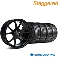 Forgestar Staggered CF5V Monoblock Piano Black Wheel & Sumitomo Tire Kit - 19x9/10 (05-14 All) - Forgestar KIT||29855||mb1||63036||29854||63037