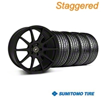Forgestar Staggered CF10 Monoblock Textured Black Wheel & Sumitomo Tire Kit - 19x9/10 (05-14 All) - Forgestar 26846||29847||63036||63037||KIT