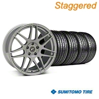 Staggered Silver Forgestar F14 Monoblock Wheel & Sumitomo Tire Kit - 19x9/10 (05-14 All) - Forgestar KIT||29850||29851||63036|63037