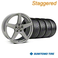 Staggered Silver Forgestar CF5 Monoblock Wheel & Sumitomo Tire Kit - 19x9/10 (05-14 All) - Forgestar KIT||29852||29853||63036||63037